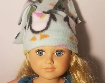 "Fleece hat for 18"" and American Girl doll"