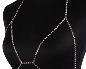 Silver Rhinestone Crystal Body Chain Harness Bra