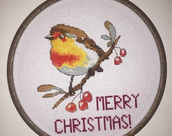 Christmas Robin Cross-stitched Hoop