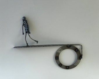 "Metal sculpture- ""The Walk"" --Welded Figure --Solid Steel --Signed 'one of a kind' Sculpture"