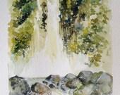Waterfalls, Waterfalls painting, Wall Decor, Wall Art, Original watercolor painting