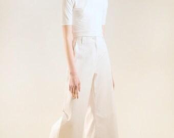 High waisted white pants / high waist pants / high waisted wide leg pants
