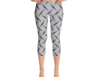 Women's  Spiral Capri-Leggings,Beautiful Pattern leggings, full printed, Printful, USA,Made for you, Modern,Trendy Design store,