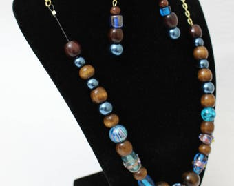 Brown and Blue Beaded Necklace and Earring Set