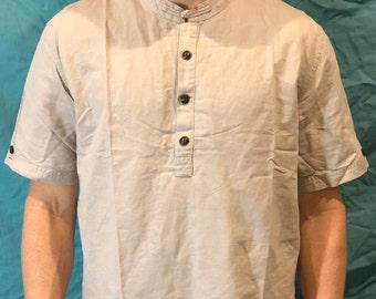 Custom Half-Placket Shirt with Mandarin Collar