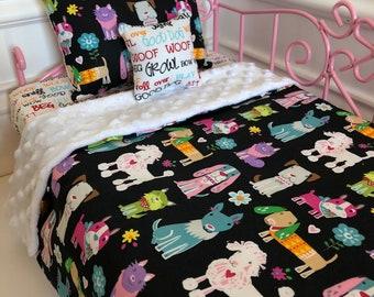 "18"" Doll Bedding Set/American Girl Bedding/3pc Doll Bedding Set/Dogs"