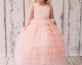 Mesh Layered Flower Girl Dress