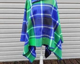 Green & Blue Plaid Poncho