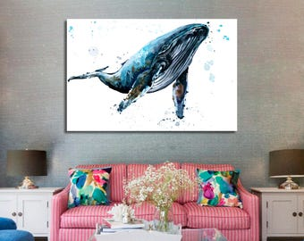 Whale Wall Art Whale Canvas Print Whale Large Wall Decor Whale Canvas Art Whale Painting Whale Poster Print Whale Home Decor Gift for She
