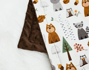 Forest Friends Baby Lovey, Security Blanket, Contemporary Baby Lovey Blanket, Cute Animal Baby Lovey, Bear Blanket, Owl Baby Blanket