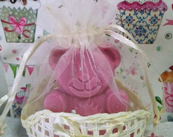 Pink Christening Bear Soap