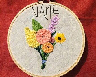 Hand Embroidered Boquet with Name In Hoop