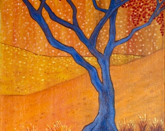 Tree Gleams of Gold Art Acrylic Painting Giclee Print