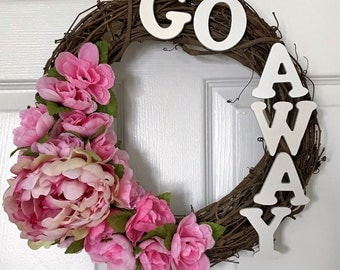 Go Away Floral Grapevine Wreath