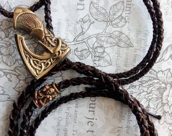 Bracelet brown snake leather and brass Axe.
