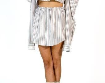 Redesigned Vintage Yves Saint Laurent YSL Menswear Cold Shoulder Skirt Set (2 Pieces)