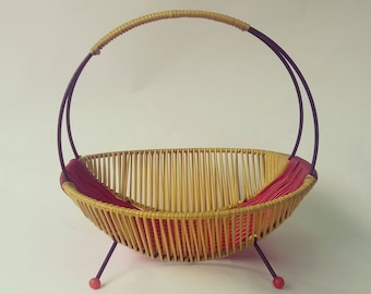 String plastic metal red and yellow fruit basket 50's Mid-Century