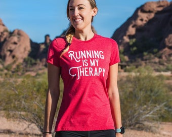 Running is my Therapy Triblend T-shirt - Women's - Red