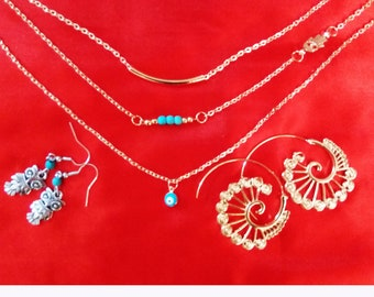 Jewellery Sets EARRINGS NECKLACE Three Piece Gold Silver Color A21