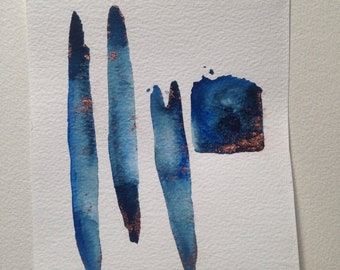 Watercolor Helbllau, dark blue, bronze