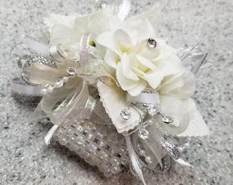 Cream, Ivory Pearl and Rhinestone Silk Flower Wrist Corsage