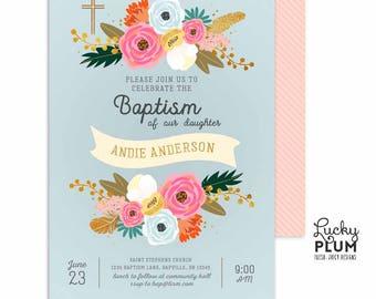 Floral Baptism Invitation / Flower Baptism Invitation / Floral Christening Invitation / Baptism Invitation / First Communion Invitation
