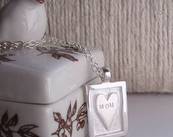MOM Hand Stamped Sterling Silver Necklace With Heart Pendant Artist Made OOAK On Sterling Silver Chain Great Mothers Gift