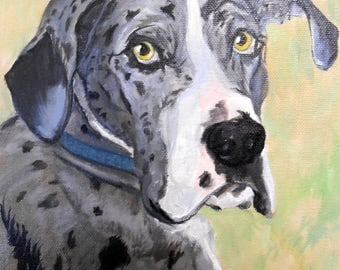 Custom Pet Portrait Painting, Fine Art Oils on Canvas Dog Portrait Animal Art