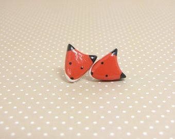 Red Fox Clay Sterling Silver Post Earrings