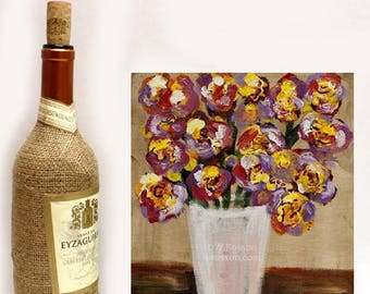 Wildflower Bouquet, White Vase, Original Painting, Flower Painting, Red, Violet, Yellow, Flowers, Winjimir, Home Decor, Wall Art, Gift, Art