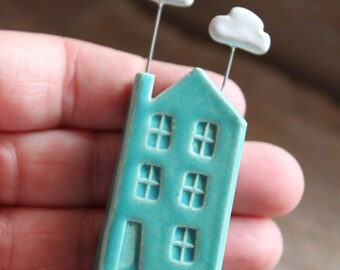 Ceramic Miniature Teal House with Clouds - Ready to Ship