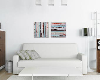 "TW0 Abstract Paintings ""Aqua 02 + Aqua 15"" by Lisa Carney, Modern Art, Minimalist Painting, Stripes, Geometric, Contemporary, Diptych, Pair"