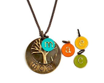 Personalized|Family|Tree|Necklace|Turquoise|Mom|Gift|Monogram|Initial|Stamped Necklace|Personalized|Necklace|Boho|Necklace|Custom Mom Gift