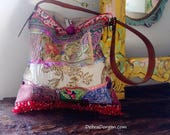 Patchwork Shoulder Bag, Recycled, Vintage Textiles, Antique Textiles, Embroidery, Brocades, Silk, Boho Bag, All Things Pretty