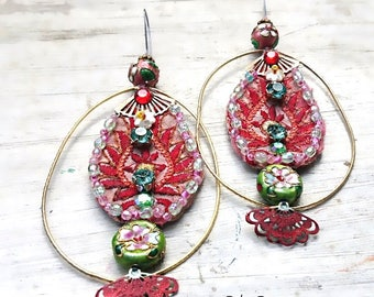 Chinese Lantern Earrings, Vintage Embroidery, Fans, Cloisonne Beads, Metallic,  Boho Earrings, Pretty, Hoop, Large Earrings