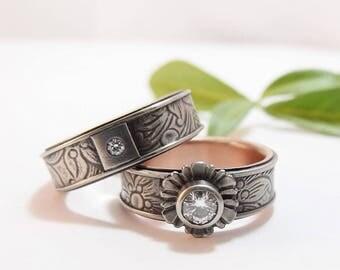 Womens Wedding Band Set Womens Wedding Ring Set Mens Wedding Band Moissanite Rose White Gold Silver Wedding Band Gold Wedding Ring Sunflower