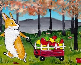Autumn Apples Corgi Art Card Original Painting ACEO ~ Animal Art ~ Pembroke Welsh Corgi Art ~ Autumn Art ~ Dog Art ~ Nursery Decor ~