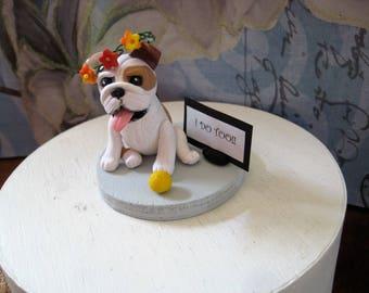 Bulldog Cake Topper, Wedding, Anniversary, Shower, cupcake, cookie cake, birthday, english, handmade, clay, OOAK