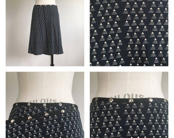 Black Wrap Snap Skirt Cotton Kint Midi Comfy Work skirt adjustable skirts Erin MacLeod, FREE SHIPPING