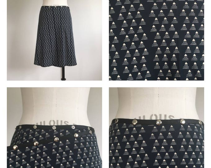 Black Wrap Snap Skirt Cotton Kint Midi Comfy Work skirt adjustable skirts Erin MacLeod, FREE SHIPPING