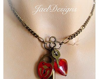Steampunk OOAK Red Heart Necklace - Vintage Brass Skeleton Key, Vintage Brass Padlock, Pendant Necklace
