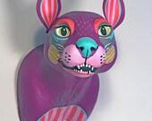 Purple Cat - Hand-Painted Wall Sculpture Art