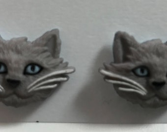 Gray Kitty Earrings