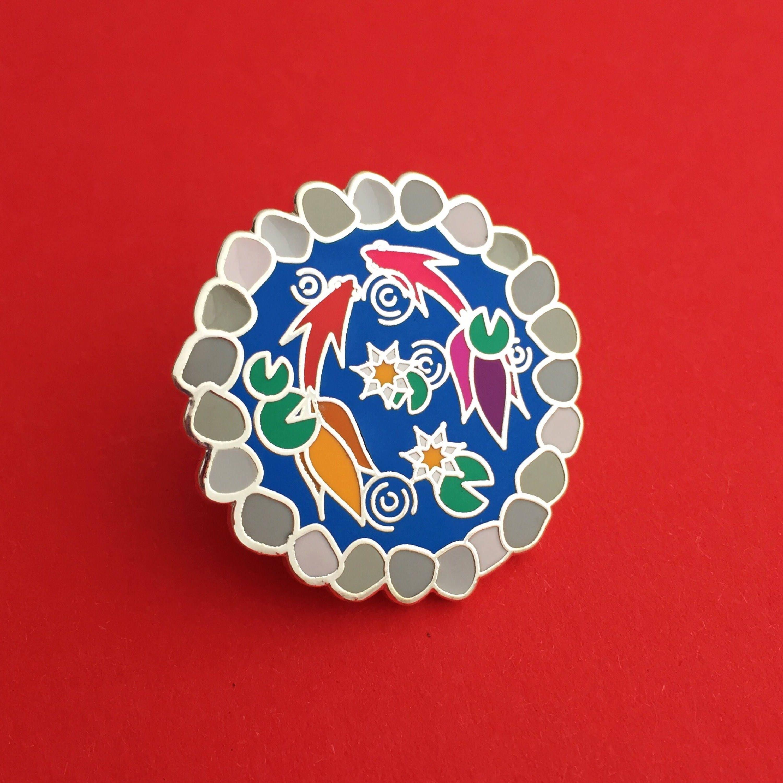 Koi ornamental fish pond enamel pin badge japan pin badge for Japanese ornamental fish