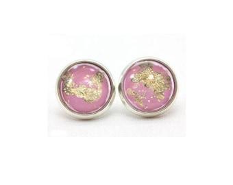 Pink Stud Earrings, Gold Post Earrings, 12mm Stud Earrings, Gold Leaf Stud Earrings, Post Silver Earrings, Pop of Colour, Glass Earrings