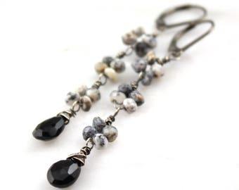 Dendritic Opal and Onyx Oxidized Silver Long Earrings