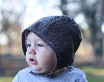 Linen Baby Bonnet in Dark Brown, Neutral Baby Bonnet, Spring Baby Style, Waldorf Baby, Baby Boy Hat, Blue Corduroy Hats