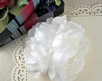 White Shimmer Peony Hair Clip, Pinup Hair Clip, White Peony