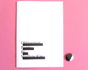 Obliteration Poems: a poetry zine of sorts + badge