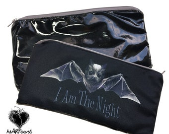 Zipper Pouch - Cute Bat I Am The Night with Latex Back